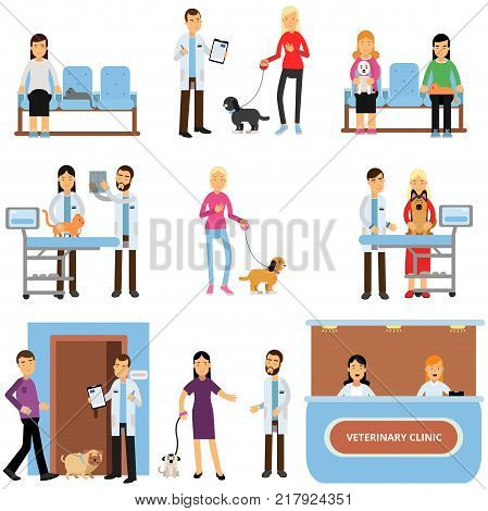 Vet clinic set, veterinary doctors examining dogs and cats, people visiting vet clinic with their pets cartoon vector Illustrations on a white background