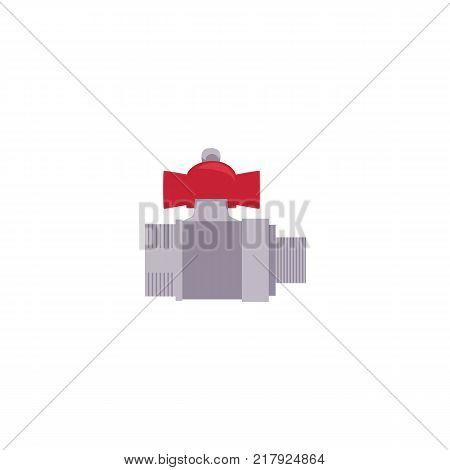 vector cartoon, flat style water valve with red fitting. Equipment for plumbing services, plumbing repairing. Isolated illustration on a white background.
