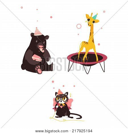 Cute animal characters, bear, cat and giraffe, having fun at birthday party, eating cake, jumping, singing, cartoon vector illustration isolated on white background. Animal characters in birthday hats