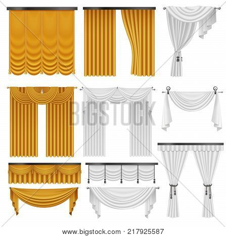 Golden and white velvet silk curtains and draperies set. Interior realistic luxury curtains decoration design