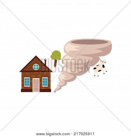 Cottage house in danger of being destroyed by storm, hurricane, tornado, cartoon vector illustration isolated on white background. Tornado, storm hurricane threatening a house, home insurance concept