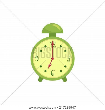 Retro style green alarm clock, cartoon vector illustration isolated on white background. Stylized cartoon alarm clock, time, deadline concept, decoration element