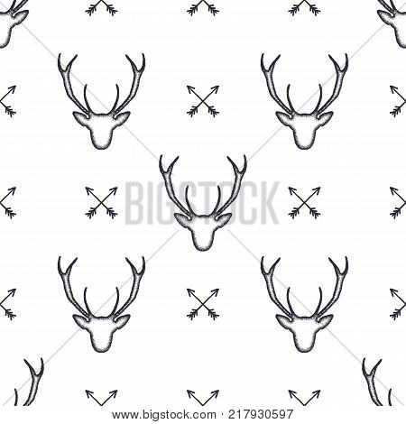 Deer head pattern. Wild animal symbols seamless background. Deers and arrows icons. Retro wallpaper. Stock vector illustration isolated on white.