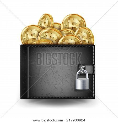 Bitcoin Full Wallet Vector. Black Color. Cryptography Finance Coin Sign. Physical Bit Coin. Locked With Padlock. Money Secure Concept. Bitcoin Gold Coins. Illustration