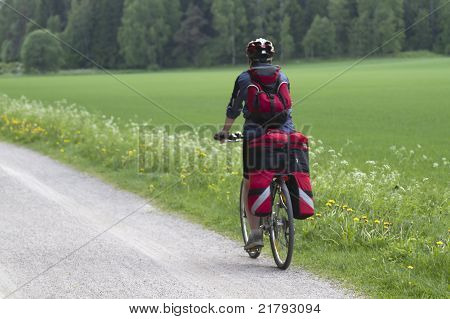 Tourist On Bicycle