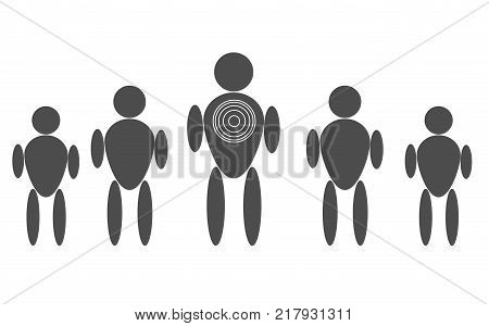 personal target consumer markeitng on white background. personal target sign. flat style.