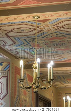 Bucharest Romania October 10 2017 : Decorative chandelier hanging in the synagogue Coral in Bucharest city in Romania