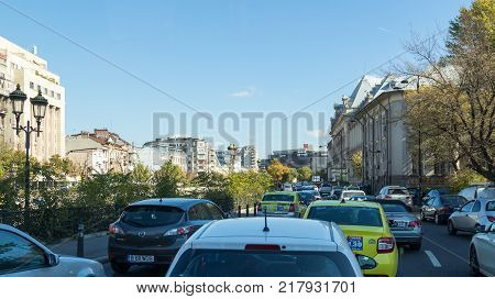 Bucharest Romania October 10 2017 : The traffic jam on the Pantelimon Road in Bucharest city in Romania
