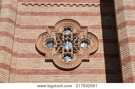 Bucharest Romania October 10 2017 : Fragment of the synagogue Coral in Bucharest city in Romania