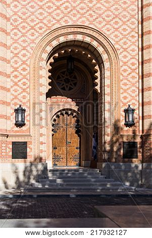 Bucharest Romania October 10 2017 : Entrance door to the synagogue Coral in Bucharest city in Romania