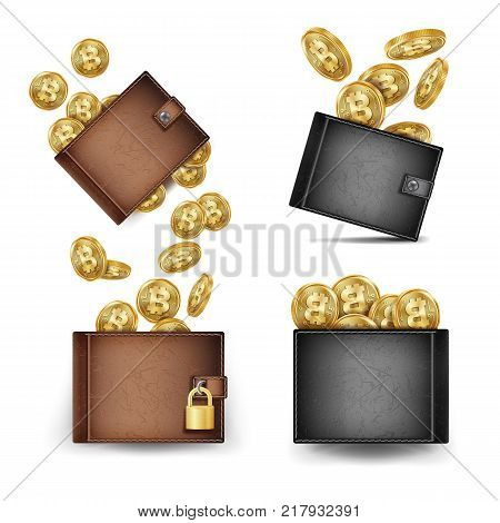 Bitcoin Wallet Set Vector. Bitcoin Gold Coins. Realistic 3d Brown And Black Bitcoin Wallet. Money Front Side. Technology Worldwide Network Concept. Locked With Padlock.