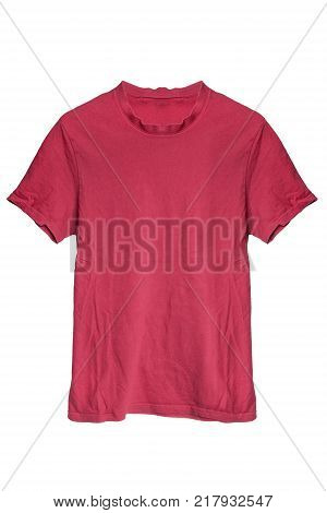 Red cotton basic sport t-shirt on white background