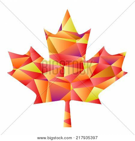 isolated the desiogn of polygon autumn maple leaf on white background