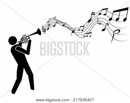isolated the people with trumpet blowing music notes on white background
