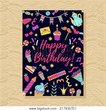 Birthday party doodle greeting card colorful vector template