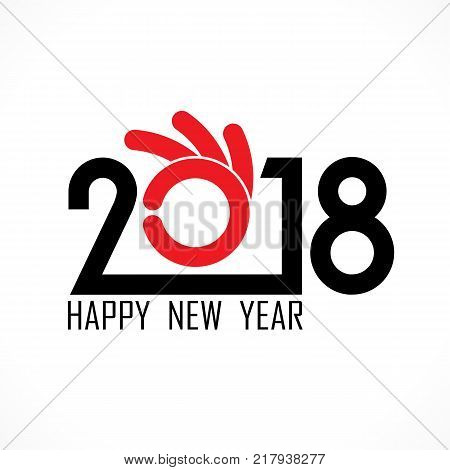 2, 0, 1, 8 and hand sign with holiday background concept.Happy new year 2018 holiday background.2018 Happy New Year greeting card.Vector illustration