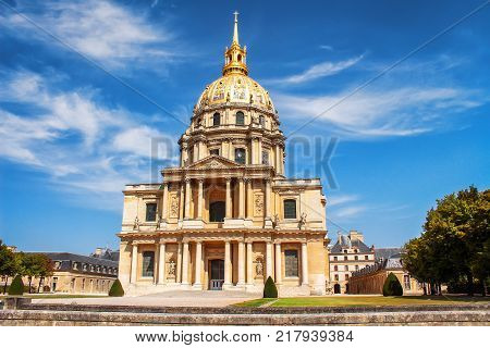 Church of the House of Disabled Paris France. Les Invalides is complex of museums and monuments in Paris military history of France. tomb of Napoleon Bonaparte.