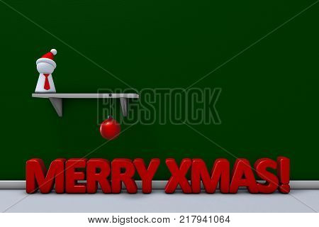 pawn with red cap and christmas ball on shelf - 3d rendering