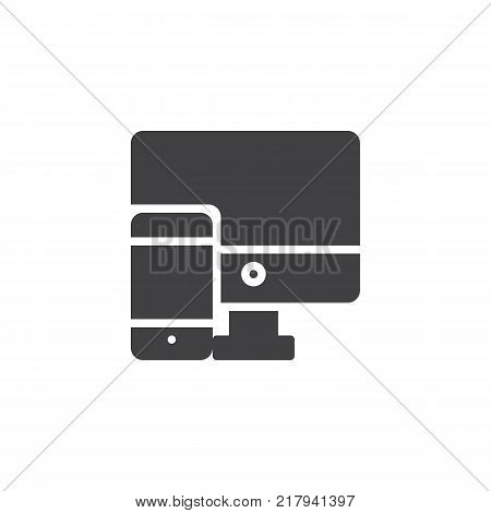 responsive design icon vector, filled flat sign, solid pictogram isolated on white. Computer and mobile phone symbol, logo illustration.