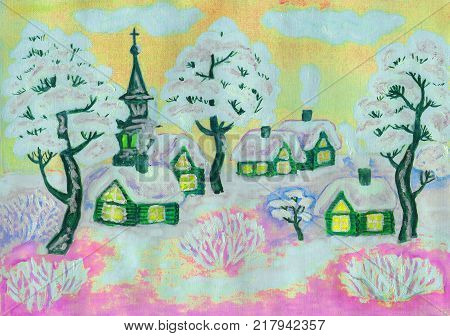 Hand painted Christmas illustration, winter landscape with houses and trees in pink and yellow colours, used watercolour, gouache and acrylic.