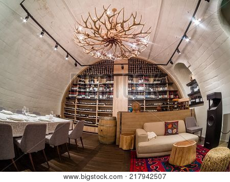MOSCOW RUSSIA - MAY 31 2017: Collection of vintage wines of restaurant Aragvi in Moscow Russia on May 31 2017. Restaurant was founded in 1930 by USSR NKVD minister Lavrentiy Beria.