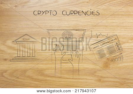 crypto coins conceptual illustration: user laptop with bank icon on one side and crypto currency newspaper with stats on the other