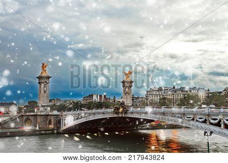 view of Alexandre III Bridge at winter day, Paris, France
