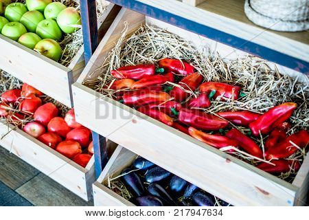 Decorative fruits and vegetables in the wooden box