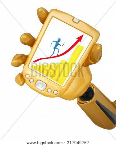 Gold 3d robotic hand holds a gold pda with person on arrow. Including clipping path