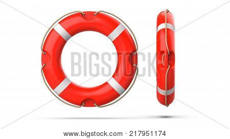 Top view of lifebuoys, isolated on a white background with shadow. 3d rendering of orange life ring buoy