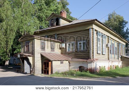 Volodarsk Russia - August 04 2012: The district hospital is just as small and old as the provincial town itself