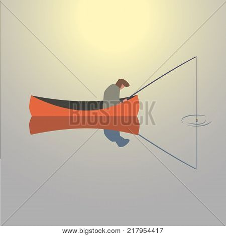Fishing man icon. Angler fishes by rod in a boat on sunset lake water silhouette. Flat cartoon simple minimal style. Fisherman catching fish on sunrise river isolated sign. Fisher vector illustration