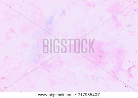 Pink-purple cheerful light multicolored spots on white paper spring winter shades. Hand draw illustration for background