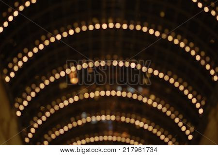 arch of lights, holiday, background, unfocus, texture of postcard