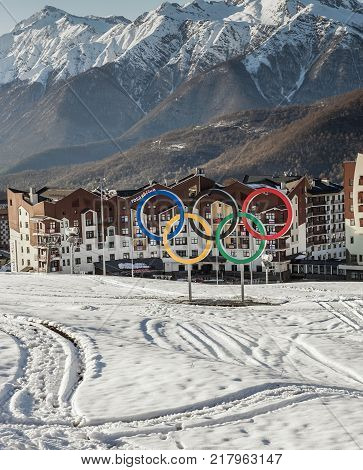 April. 27. 2017, Rosa Khutor, Sochi, Russia: Landscape with the Olympic village Rosa Khutor, the place of the Olympic Winter games 2014, Krasnaya Polyana, Rosa Khutor, Sochi ,Russia.