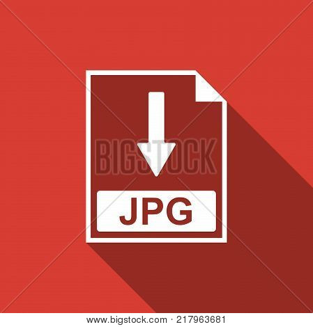 JPG file document icon. Download JPG button icon isolated with long shadow. Flat design. Vector Illustration