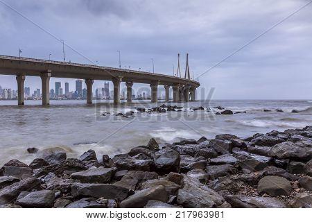 Bandra worli sea link from Bandra Bandstand