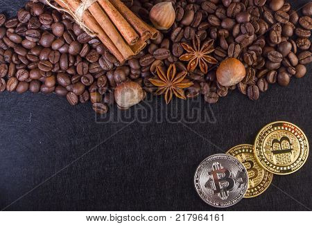 Gold Bitcoin surround by coffee bean close up