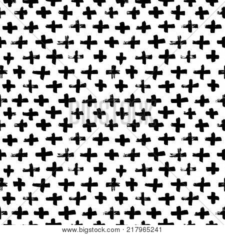Vector seamless cross pattern. Abstract background with brush strokes. Monochrome hand drawn print. Hipster monochrome texture with crosses or pluses.