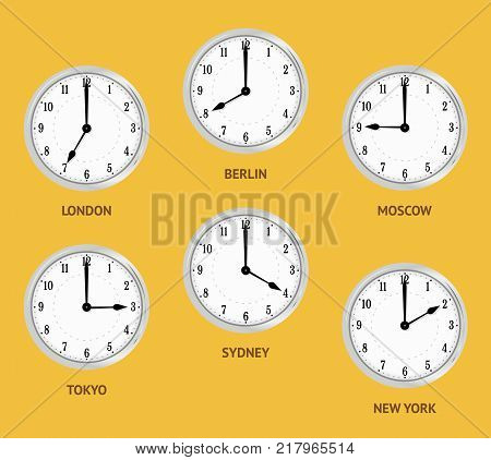 Wall clocks showing local times. World time zones. Clocks displaying time in big cities.