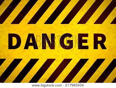 Danger sign, old warning plate with yellow and black stripes and grunge texture