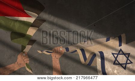 Hands Holding Israel and Palestine Flags on Concrete Background with Shadow
