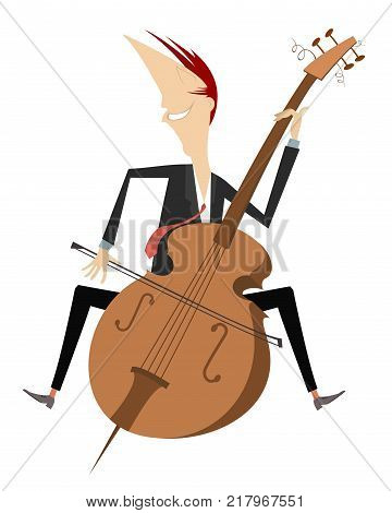 Cartoon smiling cellist isolated on white. Smiling cellist is playing music with inspiration