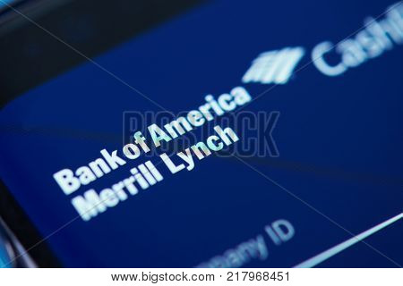 New york, USA - December 12, 2017: Bank of America  moblie app menu application menu on smartphone screen close-up. Using Bank of America moblie menu