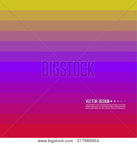 Abstract background with rhythmic rectangular horizontal stripes. Transition and gradation of color. Vector blend gradient for illustrations, covers and flyer. Color purple, pink, red, yellow, violet.
