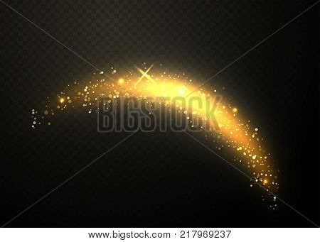 Golden glittering wave design element. Sparkle dust with gold particles isolated on black transparent background. Glow tail with glitter effect. Vector illustration