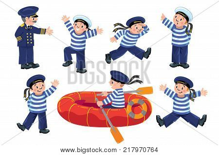 Funny jolly boy-sailors in vest and sailor hat with captain.