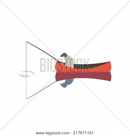 Fishing man icon. Angling person with rod in a boat on calm lake water silhouette. Flat cartoon simple minimal style. Fisherman catching fish on river isolated sign. Fisher vector illustration