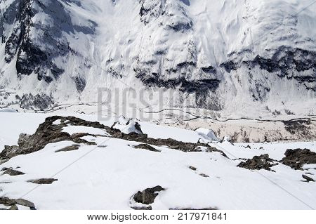 Top view of river in canyon and snowy mountainside with trace from avalanches. Caucasus Mountains region Dombay at sun winter day.