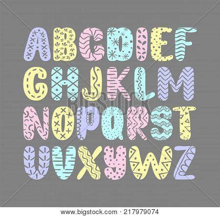 Pastel colorful graphic drawn alphabet on gray background. Cute abc design for book cover, poster, card, print on baby's clothes, pillow etc. Decorative letters.